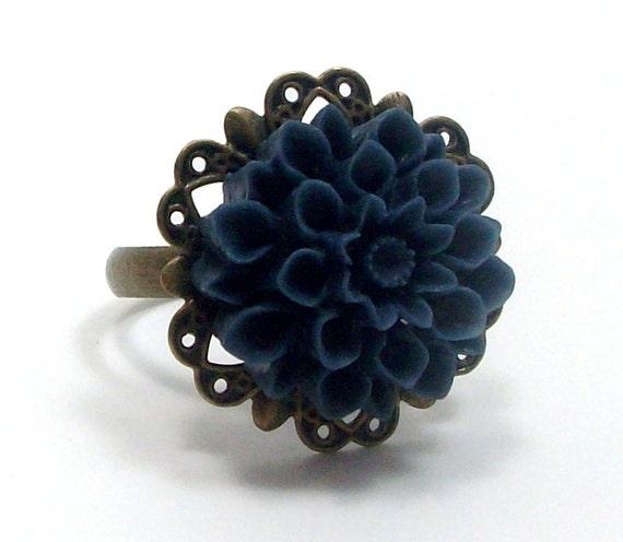 Ring Brass Flower Cocktail Navy Blue Mum . LOVELY - Free Shipping