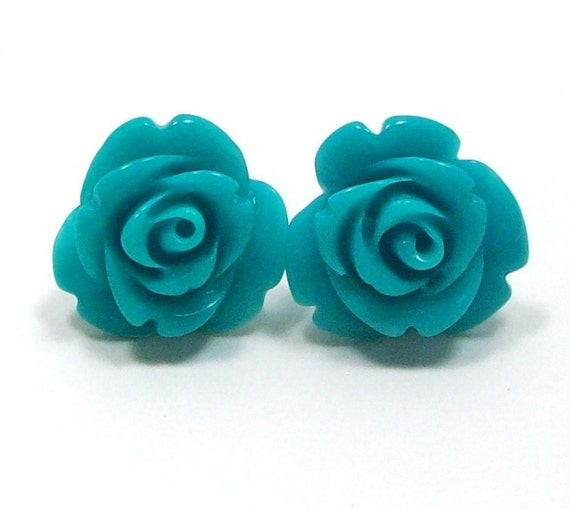 Blue Flower Earrings - Surgical Steel Posts by HotPinkChick on Etsy