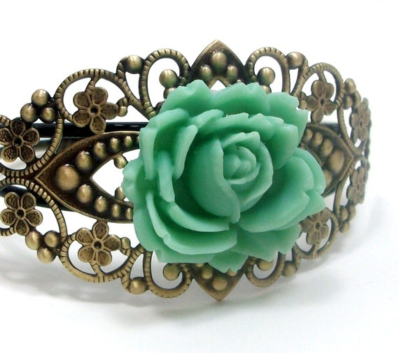 Cuff Bracelet Teal Blue Rose Flower  . ROMANCE - Free Shipping