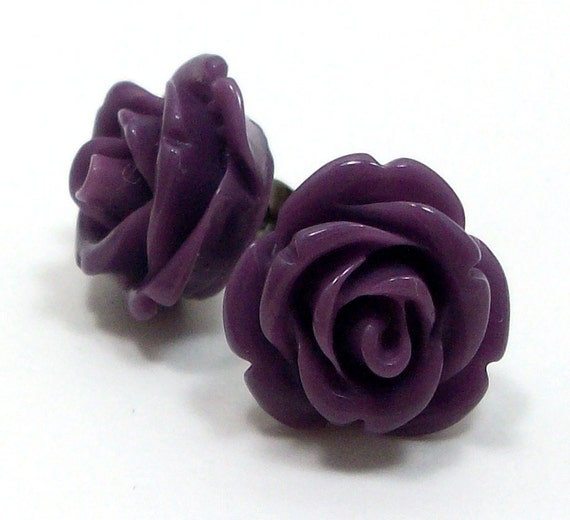 Rose Stud Earrings - Purple Flower Posts - FREE Shipping