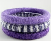 Closing Down Sale - Now only 15 Bucks - Set of 3 Wool Wrapped Stacking Bangles (1882-1924)   FREE SHIPPING
