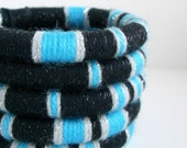 Closing Down Sale - Now only 20 Bucks - Set of 5 Yarn Wrapped Stacking Bangles (4116)   FREE SHIPPING