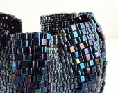 SUPER DUPER WIDE Sexy Midnight Reptile Textured Peyote Stitched Beaded Cuff Bracelet  FREE SHIPPING