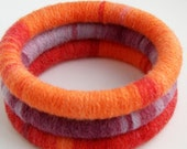 Set of 3 Wool Wrapped Stacking Bangles (5026-120)   FREE SHIPPING