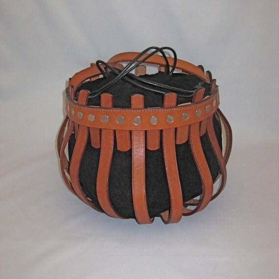 SALE- Half Price -Leather Shoulder Crossbody Medieval Drawstring Bag-The Avalon