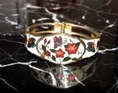 Vintage Cloisonne Enamel Butterfly Bracelet/Butterflies & Flowers Chinese  Clamper Bracelet