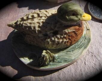 Vintage Mini  Duck  Figurine /Collectible Hand Painted Mini  Drake Duck