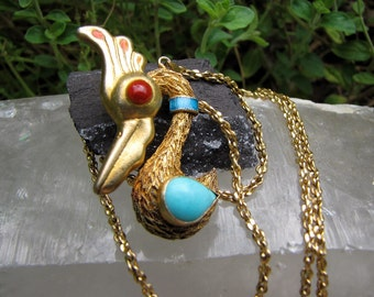Vintage Turquoise Gold Vermeil Bird  pendant -  Nature Lover - Vintage  Ethnic Chinese/Nepal Jewelry