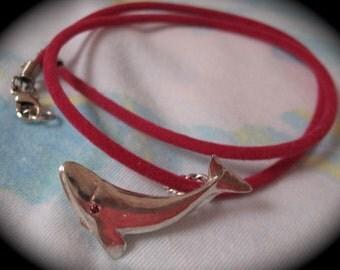 Vintage  Dolphin  Sterling Silver Necklace /Sea Creature Pendant  Hippie Beach Pendant / Ocean Jewelry