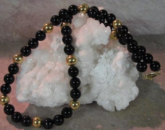 Vintage Napier Jet Black and Gold Beaded  Designer Beaded Elegant Necklace