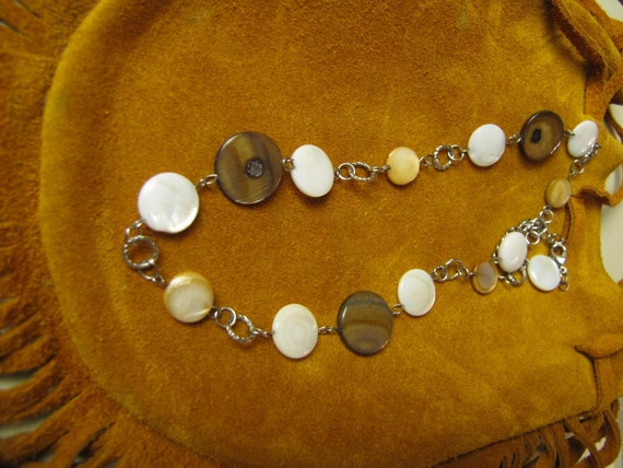 Vintage Boho Mother Of Pearl Two Tone Disc Necklace/ Shell Chain Necklace