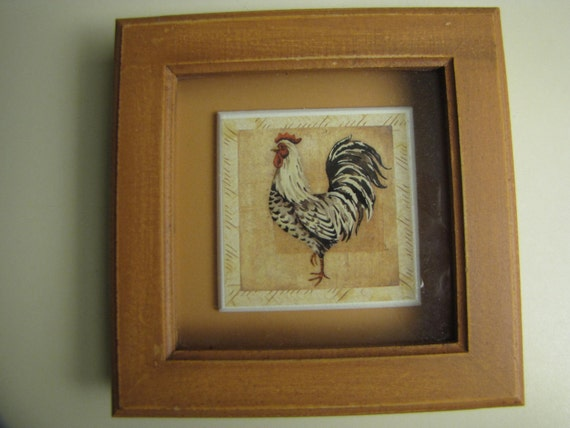 Vintage Chicken/ Rooster Tile Rustic Framed Picture Painted Tile Wall  Art 6x6 Shadow Box Framed Wall Decor Farm Decor