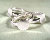 30 Silver Plated Youth Size Ring Blanks--Adjustable from 5 1/4 and up---- with 8mm glue pad