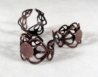 Heart Shaped ADJUSTABLE FILIGREE RING -----5 Rings----- Antiqued Copper