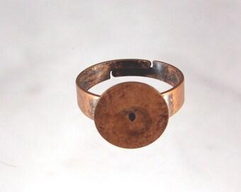 Large Glue Pad -- (10) Antiqued Copper adjustable ring blanks --12mm glue pad-- wide band