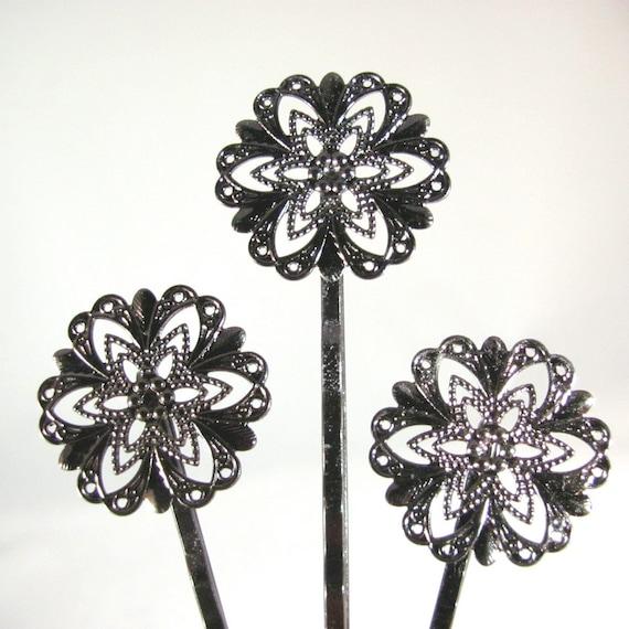 FILIGREE BOBBY PINS--(10) --- in gunmetal --- 21mm filigree