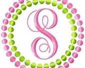 Circle Dots Machine Embroidery Monogram Font Set 5x7 Hoop