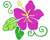 Hawaiian Flower Machine Embroidery Design Single