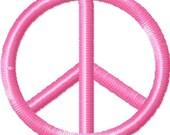 Peace Sign Machine Embroidery Mini Design  - 3 sizes