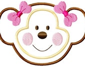 Cute Monkey Face Applique Machine Embroidery Design