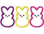 Three Bunnies Machine Embroidery Applique Design