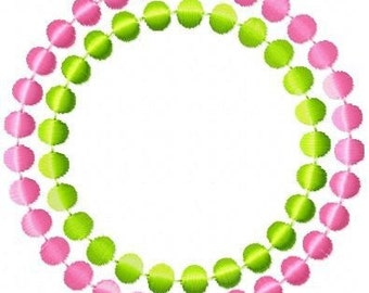 Circle Dots Frame Machine Embroidery Design 2 sizes