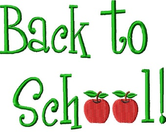 Back to School Machine Embroidery Design Single - 2 sizes