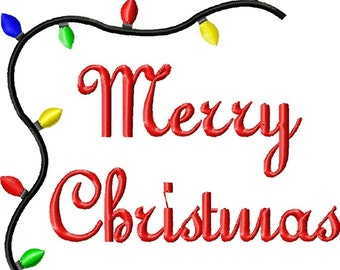 Merry Christmas Machine Embroidery Design Single
