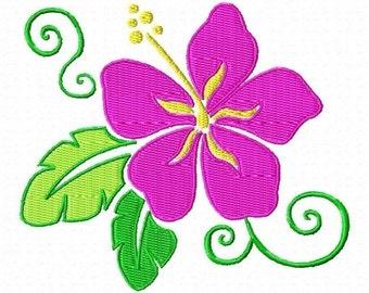 Hawaiian Flower Machine Embroidery Design Single