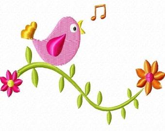 Cute Bird on a Vine Machine Embroidery Design Single