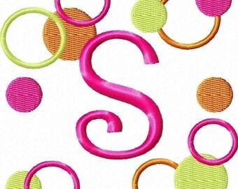 Crazy Dots Machine Embroidery Design Monogram Font Set 4x4 hoop