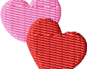 Two Little Hearts Machine Embroidery Mini Design