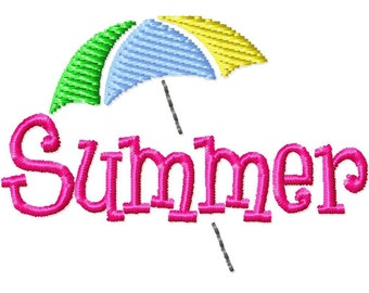 Summer Umbrella Mini Machine Embroidery Design