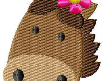 Girl Horse Face Mini Machine Embroidery Design