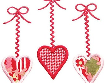 Three Hanging Hearts Machine Embroidery Applique Design