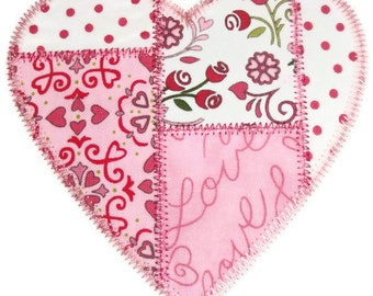 Patchwork Heart Machine Embroidery Applique Design