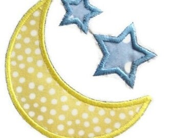 Moon Stars Machine Embroidery Applique Design