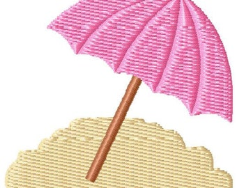 Umbrella Sand Mini Machine Embroidery Design - INSTANT DOWNLOAD