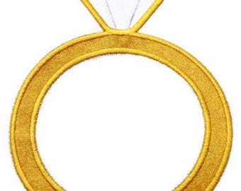Diamond Ring Machine Embroidery Applique Design