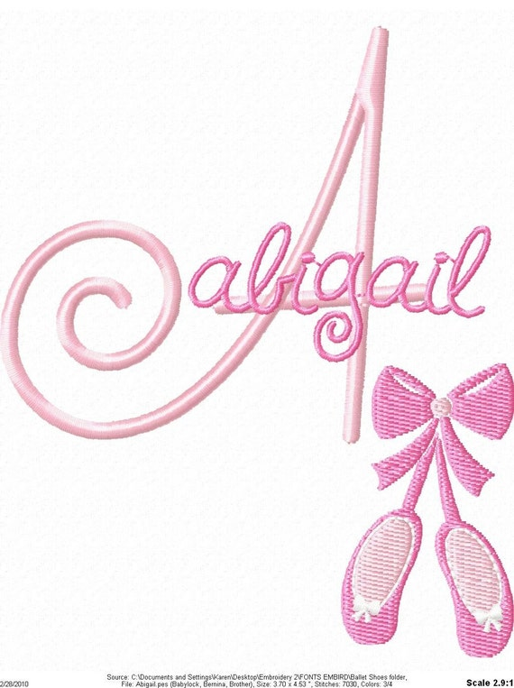 Ballet Shoes Machine Embroidery Design Monogram Font Set
