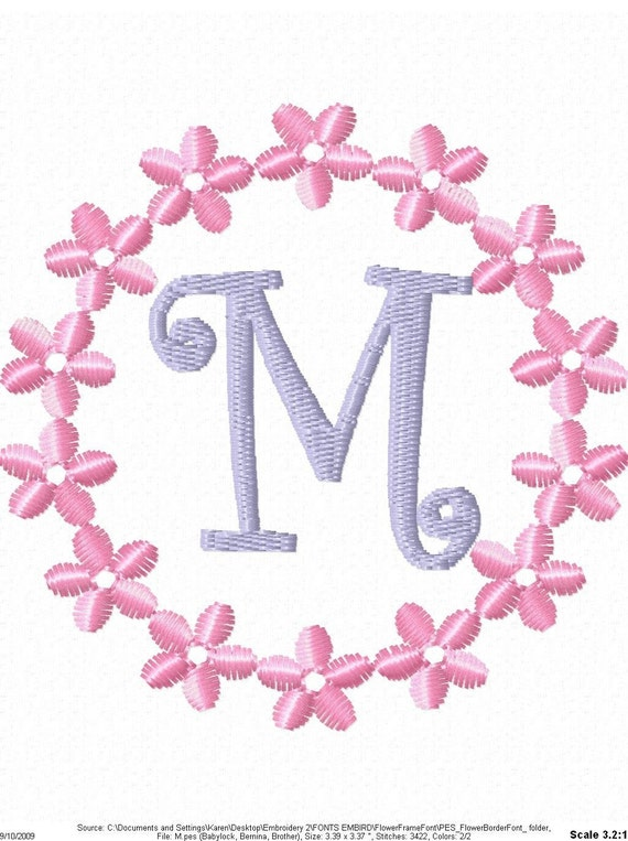 Circle flower frame machine embroidery by simplysweetembroider