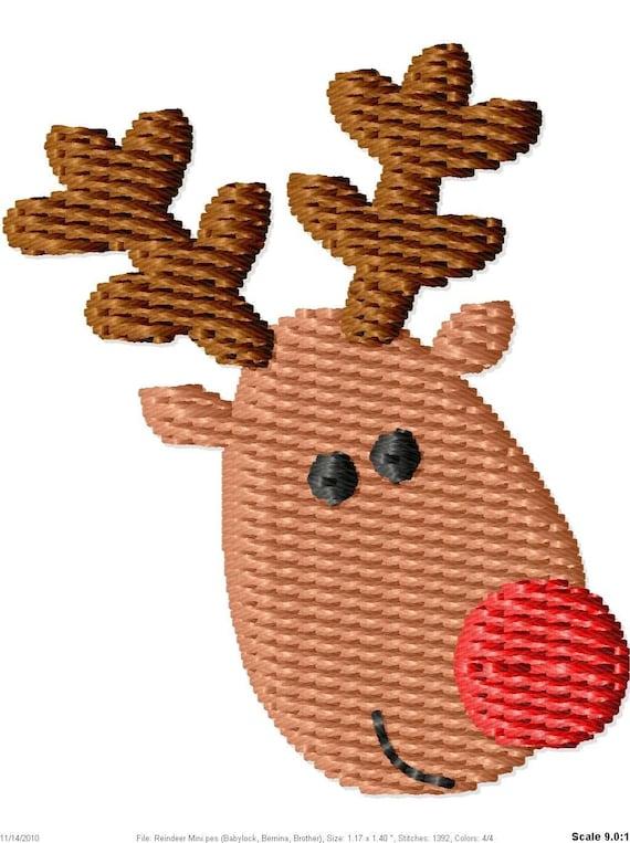 Christmas Reindeer Machine Embroidery Design Mini