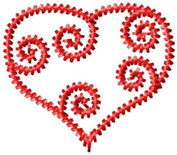 Scroll Heart Machine Embroidery Mini Design
