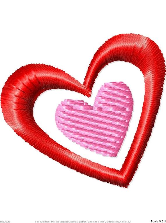 Two Hearts Machine Embroidery Design Mini