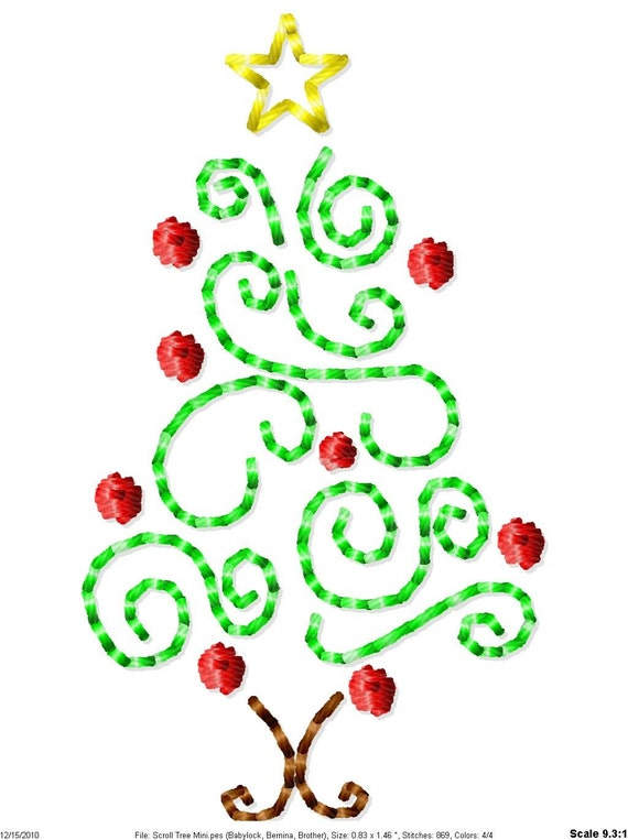 Scroll Christmas Tree Machine Embroidery Design Mini