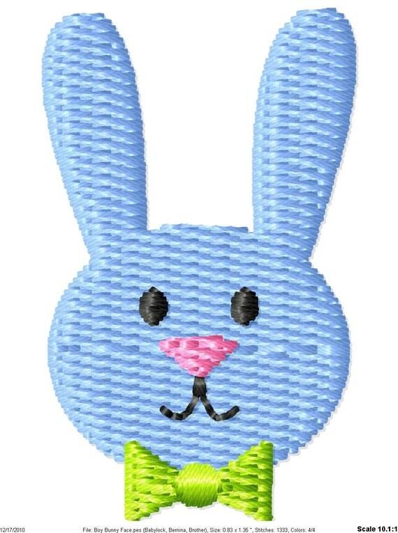 Boy Easter Bunny Face Machine Embroidery Design Mini