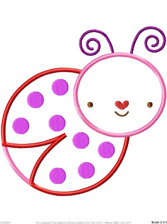 Ladybug Machine Embroidery Applique Design