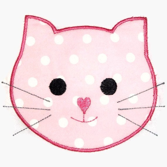 Kitty Cat Face Machine Embroidery Applique By