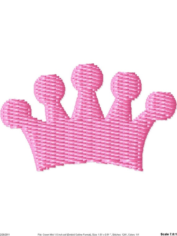Princess Crown 2 Machine Embroidery Mini Design
