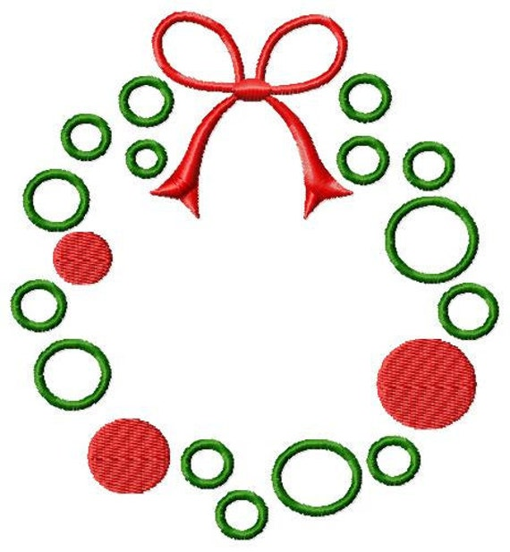 Christmas wreath machine embroidery design by